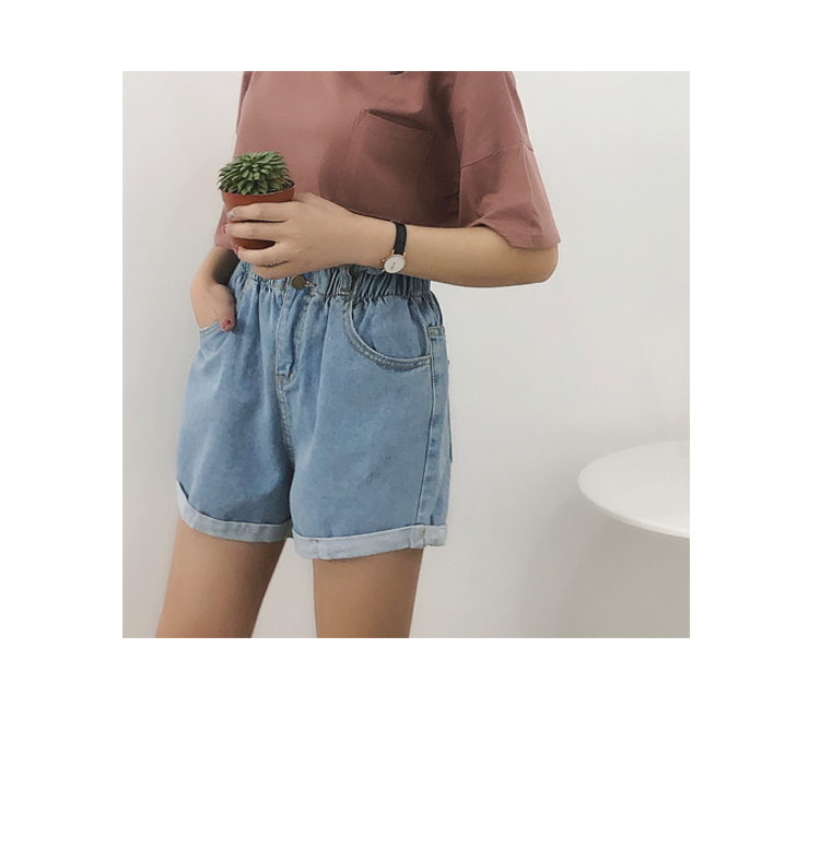 Roll Up Hem Elastic Waist Pocket Blue White Jeans Female 14