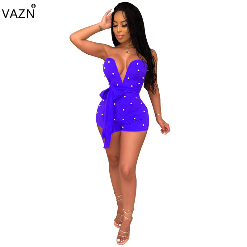 VAZN 2019 top quality 3colors playsuit sexy culb sleeveless lace up skinny playsuit sexy lady deep V-neck short rompers WNY8780