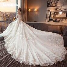 Fansmile Vestido De Novia De encaje con cola larga De lujo, traje De boda personalizado De talla grande, FSM 491T, 2020