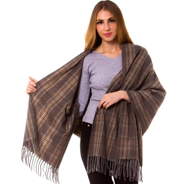 870053866f1e8 Cashmere Silk Check Plaid Scarf Wrap Oblong Shawl Warm Fashion Long Thick  Hijab Top Quality Tartan