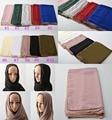 Za 2016, bufanda de la gasa de alta calidad, hijab llano con la cadena, hijab musulmán, mantones y bufandas, mantones wraps, silenciador, cabo, bandana