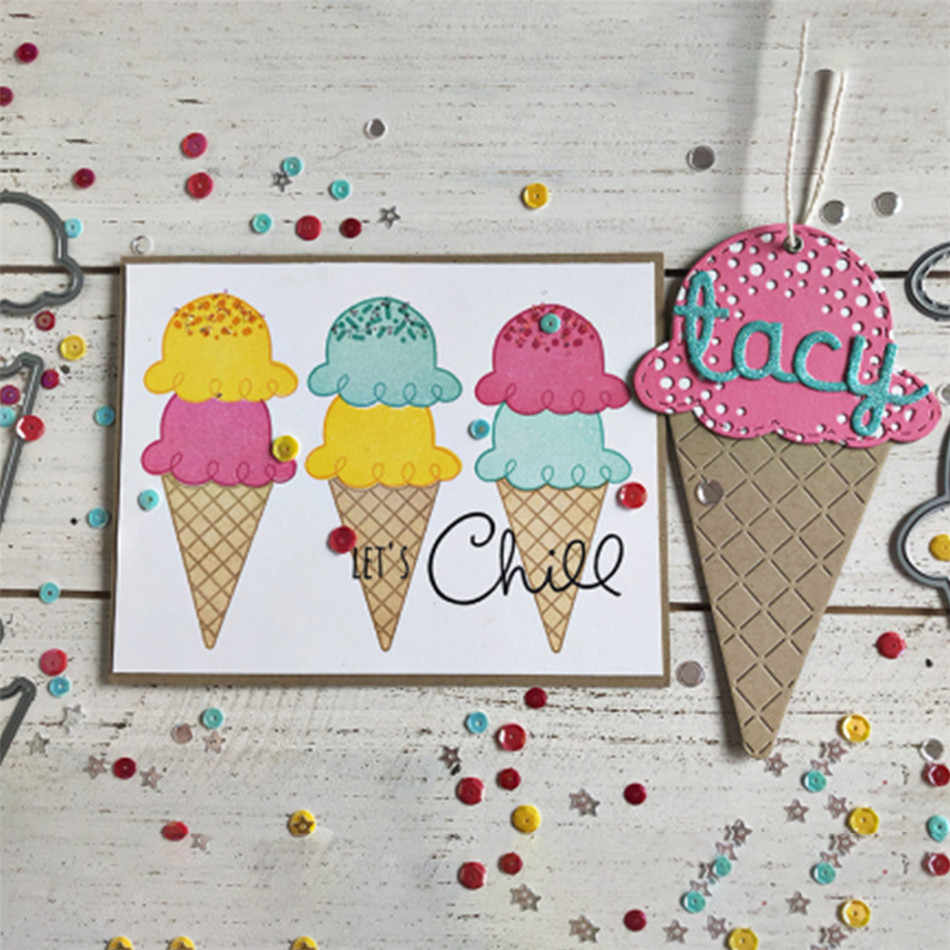 DiyArts Ice Cream Metal Cutting Dies Stencil Scrapbooking Photo Album Decor Paper Card Making Decor DIY Embossing Crafts