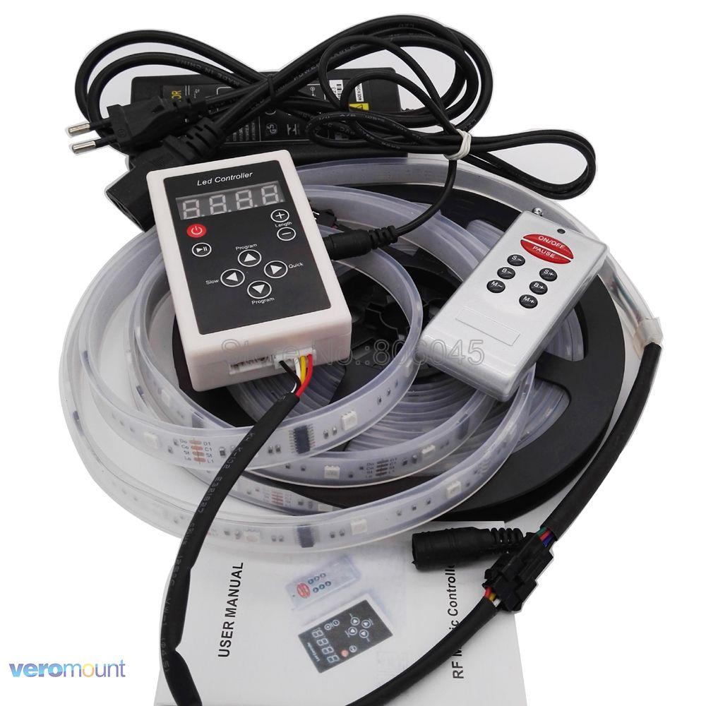 6803 IC Magische Traumfarbe RGB LED Streifen 5050 30LED/m Jagen lichter IP20/IP67 + 133 Programm RF Fernbedienung + Netzteil