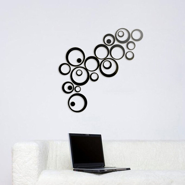 circles mirror wall sticker for home decoration sliver black