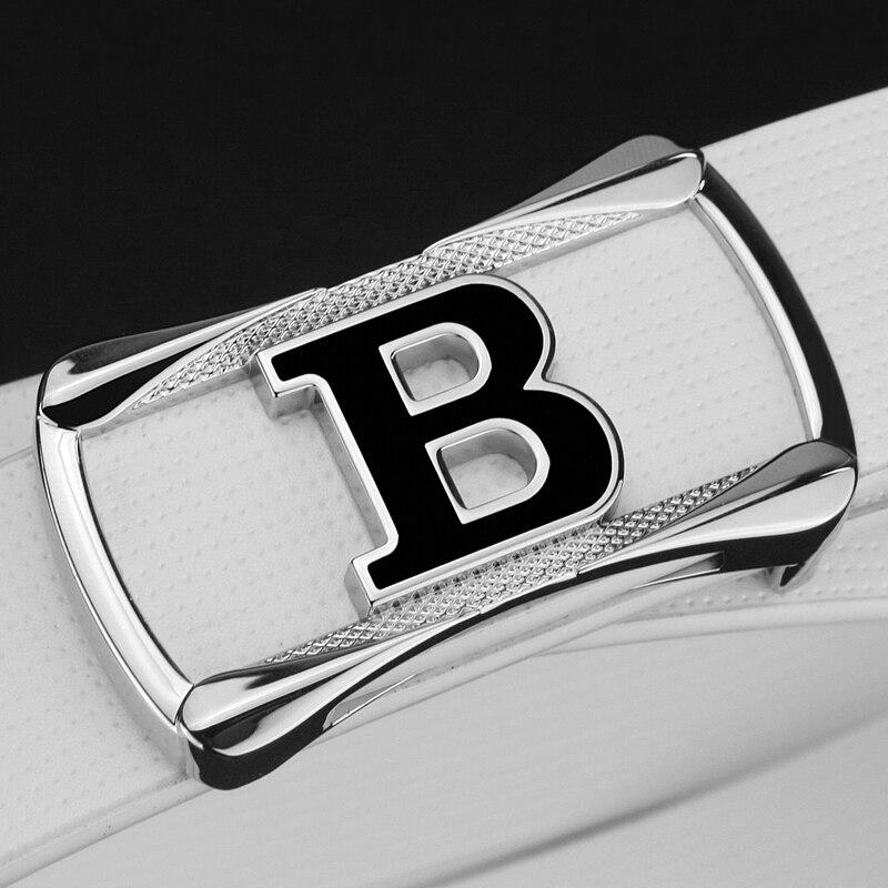 Ремень мужской из натуральной воловьей кожи, дизайнерский пояс с пряжкой в форме буквы B, повседневный белый пояс для джинсов