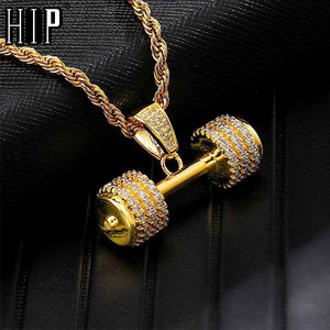 Hip Hop Iced Out Bling Rhinestone Rope Chain Barbell Gym Fitness Dumbbell Gold Color Hand Pendants &Necklaces For Men Jewelry