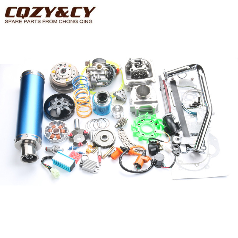 52mm 105cc Big Bore Performance Kit GY6 50cc 139QMB Chinese Scooter Parts 6 color muffler