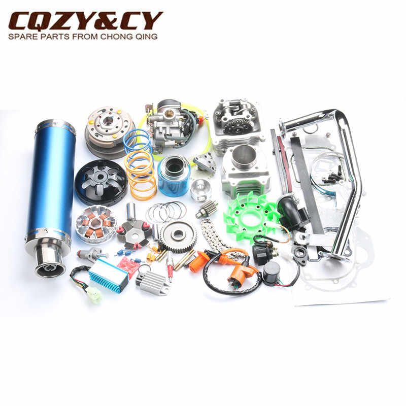 52 Mm 105cc Big Bore Kinerja Kit GY6 50cc 139QMB Cina Scooter Parts & 6-Warna Muffler