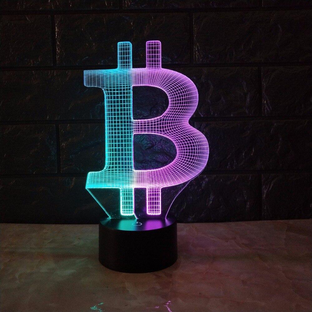Acrylique Bitcoin Mixcolor 3D lampe humeur veilleuse RGB LED éclairage USB tactile Base Table bureau à côté décoratif