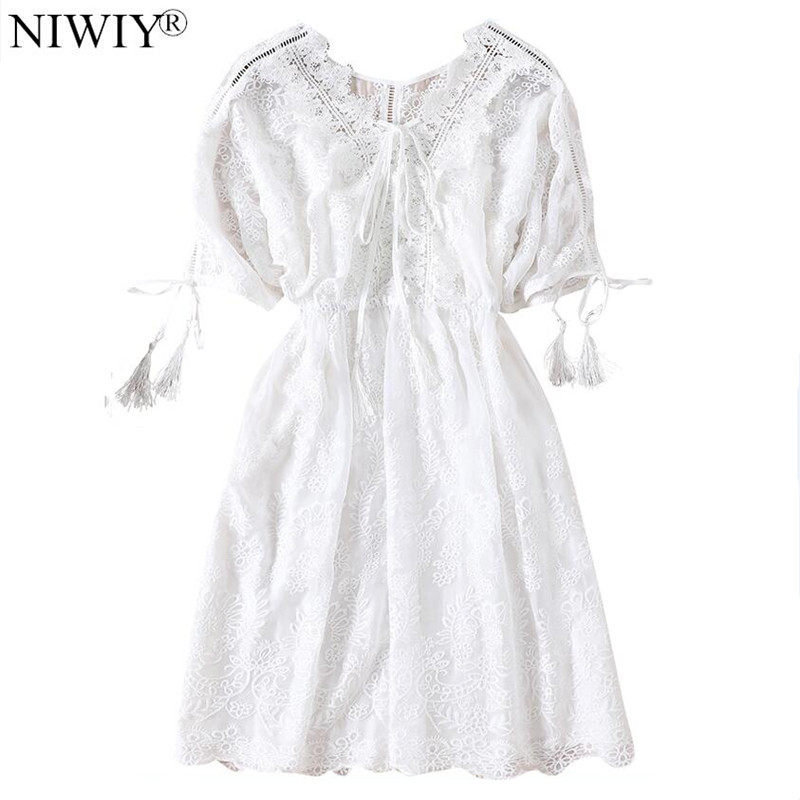 1ff5e940df6 NIWIY Brand High-end Summer Chiffon Backless Sexy Dress Robe Femme Ete 2019  Women Embroidery
