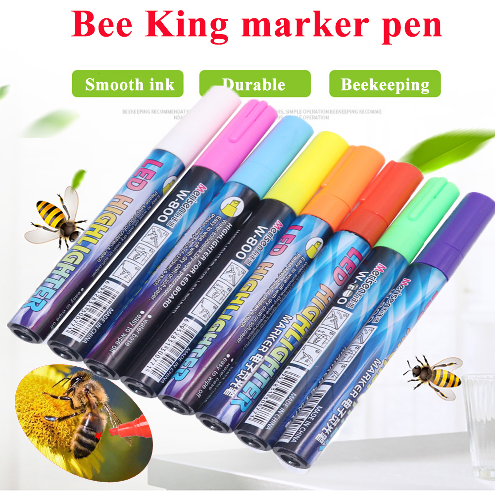 1PCS Mark Pens Queen Bee Marker Pen Marking King Rearing System 8 Colors Available Identification Bees Tools Equipment My Order