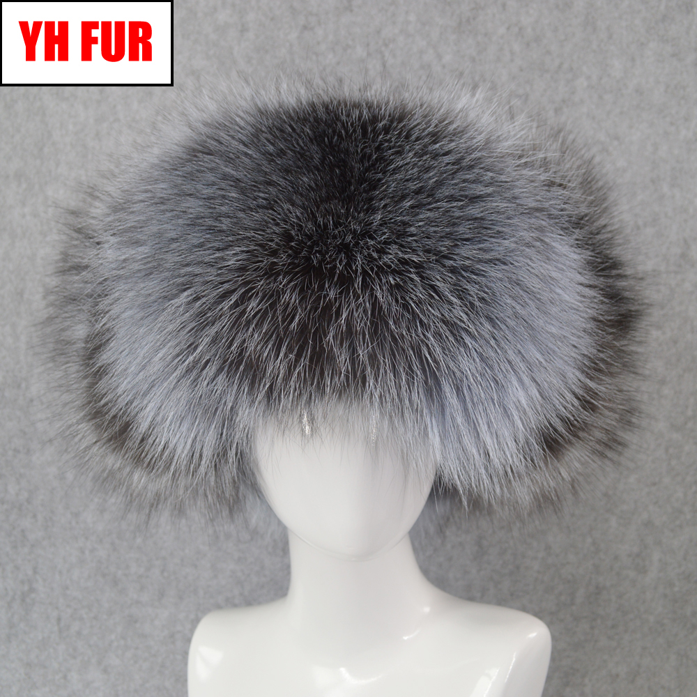 Bomber-Hat Hats Cap Russia Winter Real-Fox-Fur Genuine-Leather Warm Men Fluffy Outdoor