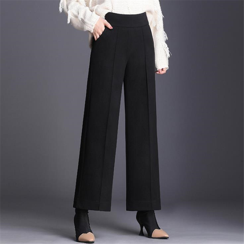 Woman Spring High Elastic Waist Solid Thick Ankle-length   Pants   Female Autumn Oversized Loose Wide Leg Trousers Women Warm   Capris
