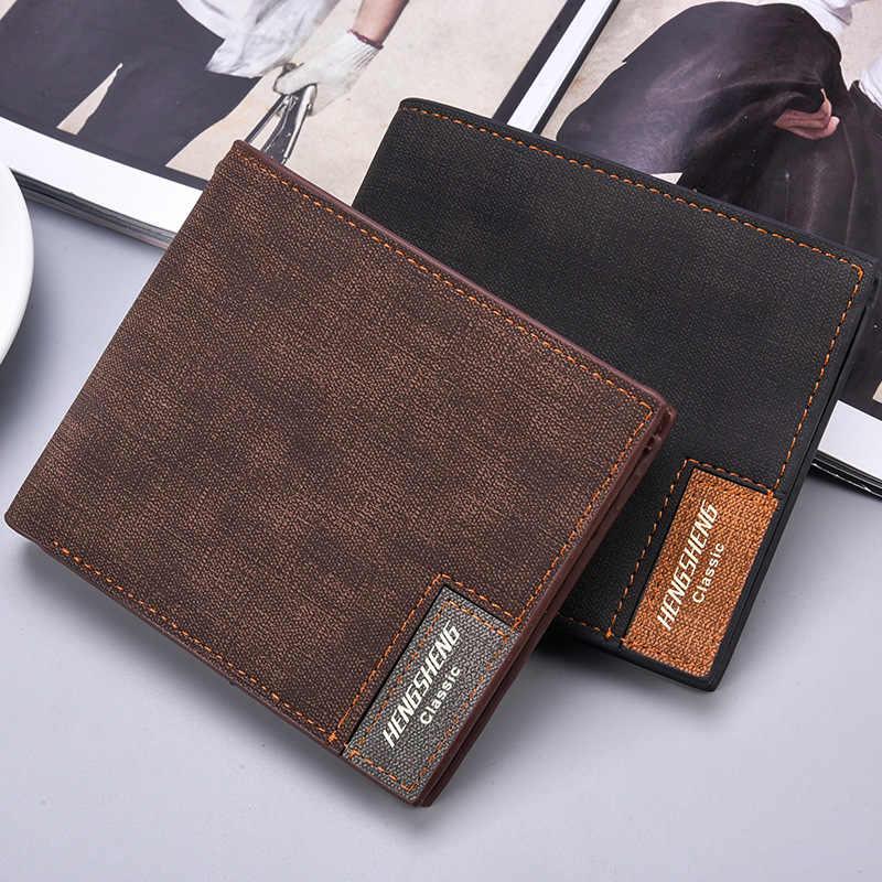 Slim Pendek Pria Kulit Dompet Tipis Pria Pemegang Kartu Kredit Dompet untuk Pria Kecil Tas Uang