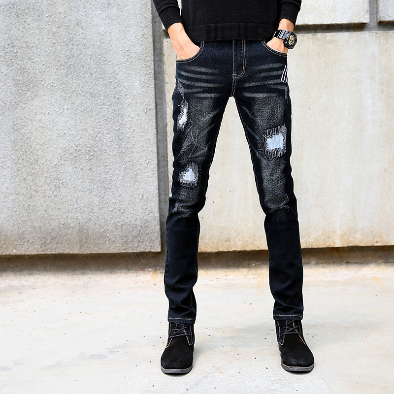 2018 Propcm Men Jeans Spring Casual Washed Hole Patch Slim Cotton Elastic Fashion Jeans Pencil Pants Small Feet Cowboy Trousers