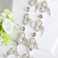 Bow Shape Pearl And Rhinestone Cup Chain Trimming DIY Sew On Silver Base Density Crystal Cup