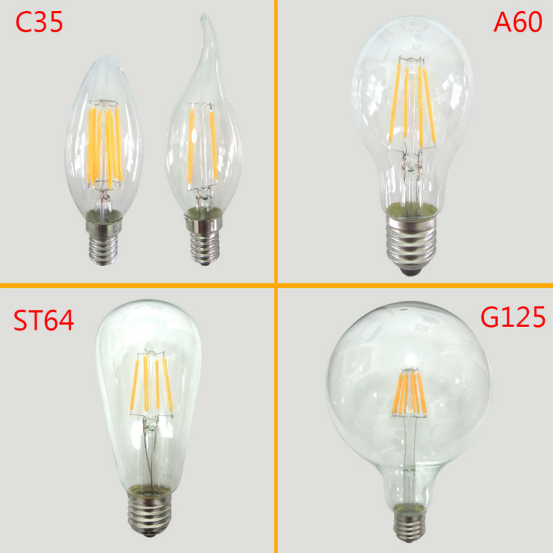Glass Led Filament Bulb Home Lighting Ampoule Led E14 Candle Energy Saving Lamp Light Bombilla Led E27 COB 220v 2W 4W 6W 8W