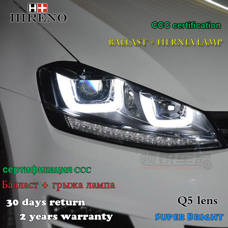 Hireno Headlamp for 2014-2015 Volkswagen Golf 7 Golf7 Headlight Assembly LED DRL Angel Lens Double Beam HID Xenon 2pcs