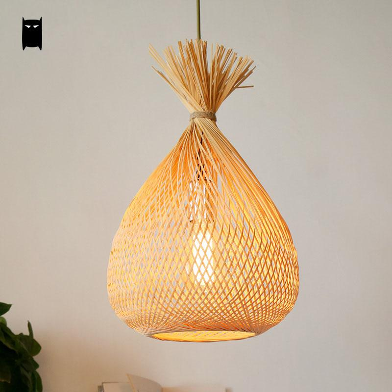 Bamboo Wicker Rattan Bag Lampshade Pendant Light Fixture Rustic Country Japanese Asian Hanging Lamp Plafon Dinning Table Room n light бра b 891 1 матовое золото