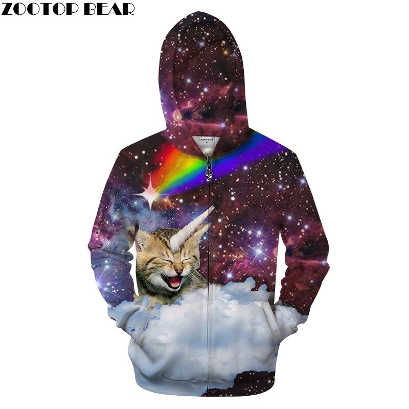 Galaxy Cat Hoodies Zip Hoodie Men Women Sweatshirts Unisex Funny 3D Hoody Fashion Streetwear Male Tracksuits Brand Hot Hoody