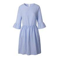 BFEORW 2018 Summer Round Neck Short Sleeve Fashion Striped Dress Women Sexy Mini Party Dress Ladies
