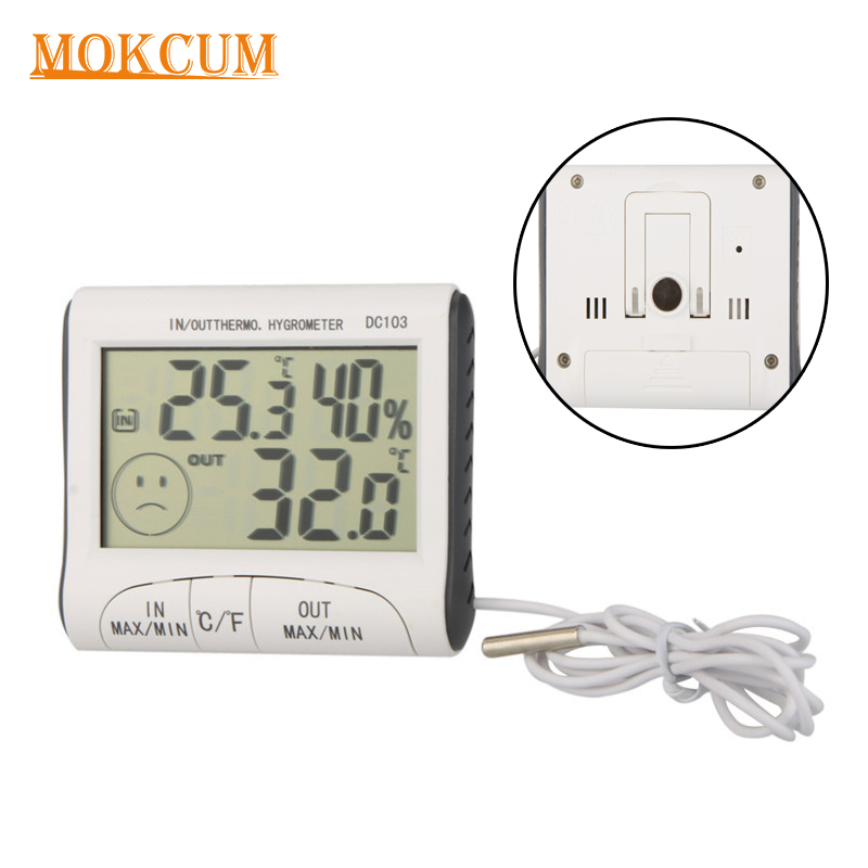 Weather Station Indoor Outdoor Thermometer Temperature Humidity Meter LCD Digital Household Termometro Hygrometer Alarm colorful lcd display digital thermometer hygrometer indoor outdoor weather station temperature humidity meter alarm clock