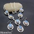 Hermosa Joyería Clásica Moonstone Moda Retro Plata de Ley 925 mujeres Collar + Pendientes 18 pulgadas HM17
