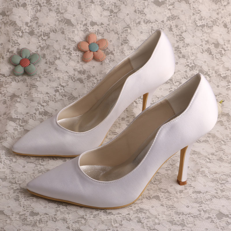 Wedopus Plain Pointed Toe High Heels Satin Ivory Women Bridal Shoes Wedding  Pumps -in Women s Pumps from Shoes on Aliexpress.com  9bccad0a51f1