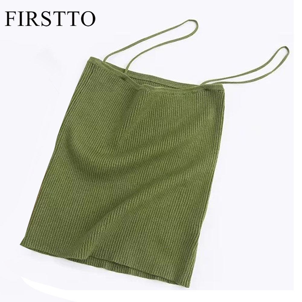 FIRSTTO Sexy Candy Colors Fitness Slim Spaghetti Strap Camis fit Tight Tops Women Knitted Ribbed Striped Line Short Tee 3 Colors