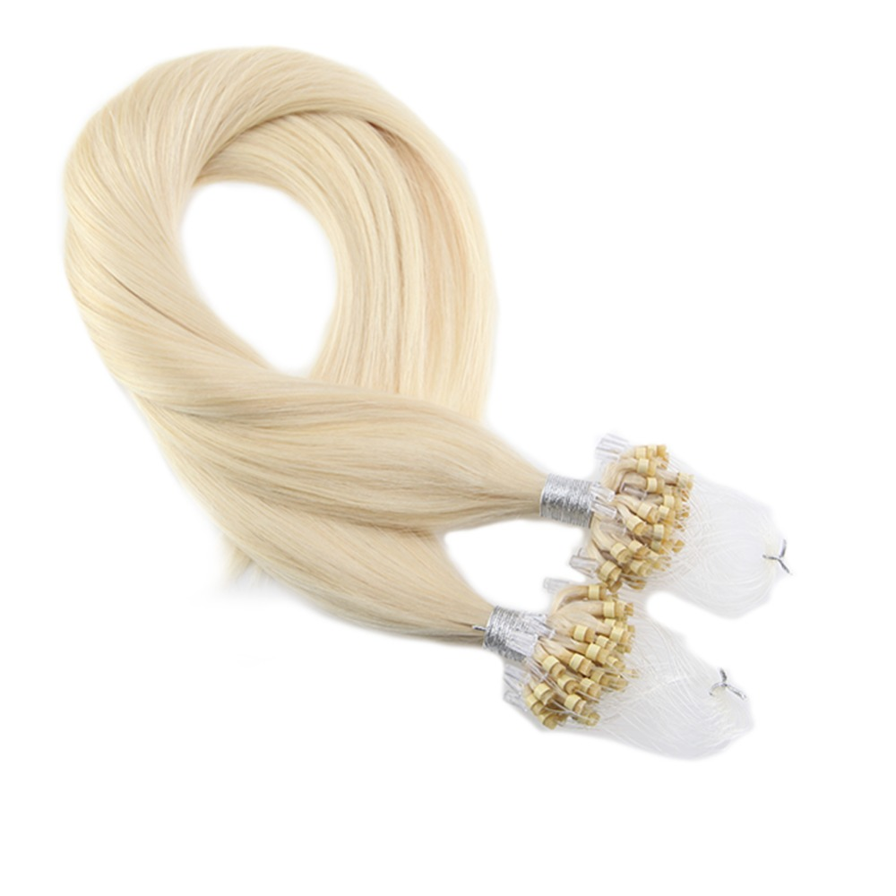 Moresoo Micro Loop Hair Extensions Platinum Blonde #60 Human Hair Machine Remy Brazilian Beads Hair 1G/1S 50G 50S Pure Color
