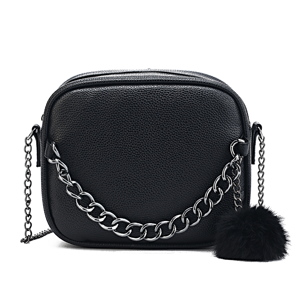 Small Designer Chain Women Bag Leather Handbag Messenger Bag PU Shoulder Crossbody Bag With Plush Ball Toy Bolsa Torebki Damskie