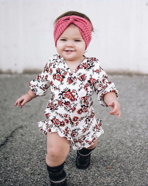 05242c0f94a3c 2017 Cute Newborn Baby Girl Dress Kid Floral Long Sleeve Romper Jumpsuit Outfit  Baby Clothes