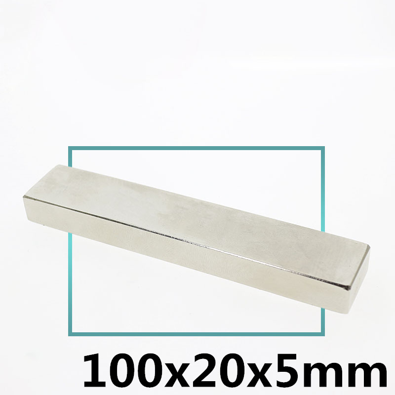 1PCS 100 x 20 x 5 mm Square Block Long Bar Super Strong Magnet Rare Earth Neodymium Permanent Magnets N35 Powerful1PCS 100 x 20 x 5 mm Square Block Long Bar Super Strong Magnet Rare Earth Neodymium Permanent Magnets N35 Powerful