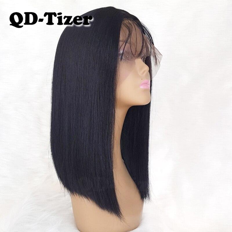 Qd-tizer Bob perruques cheveux couleur noire dentelle synthétique avant sans colle Long Bob avec des cheveux naturels de bébé pour les femmes noires