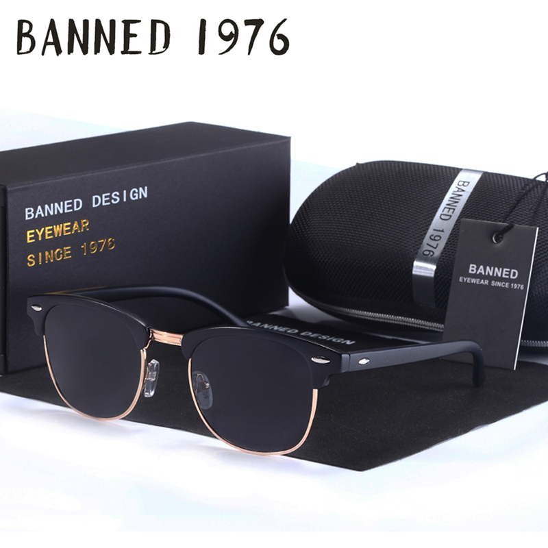BANNED high quality Polarized men women Sunglasses Classic club Brand Sun glasses Coating Lens Driving Shades with original box