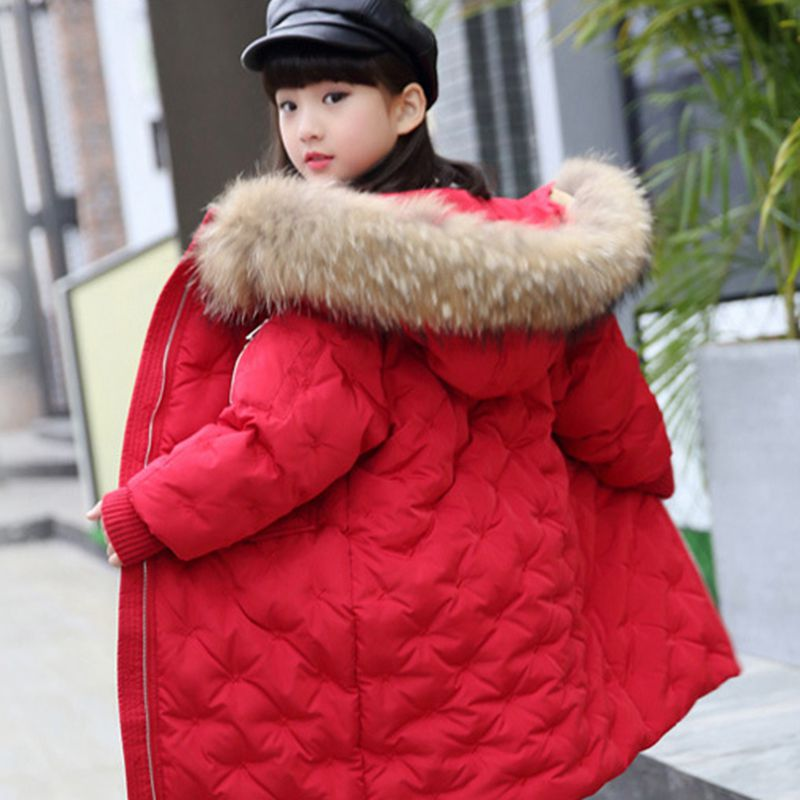 Russia Winter Girls Snows Coat Kids Down Jacket Large Fur Collar Children Boys Parkas Hooded Outerwear Snowsuit TZ208 new winter girls boys hooded cotton jacket kids thick warm coat rex rabbit hair super large raccoon fur collar jacket 17n1120
