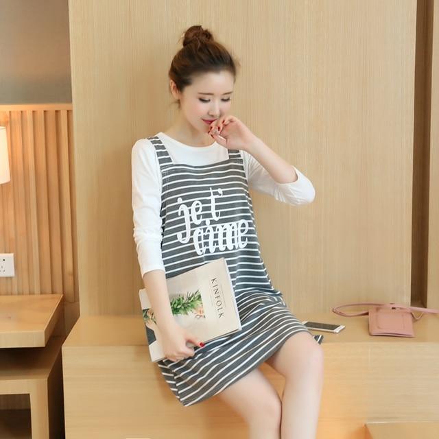 2016 novos vestidos de maternidade moda outono solta longo-sleeved T-shirt two-piece vestido strap