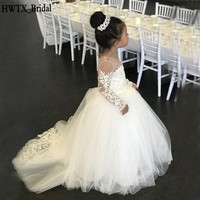 Cute Lace Princess Flower Girl Dresses For Weddings White Long Sleeve Tulle Ball Gown 2018 Baby Girls First Comunion Dress Cheap