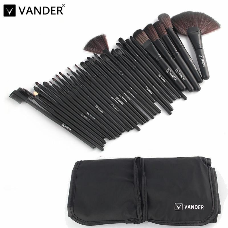 Vander Professional 32pcs Makeup Brush tools For Women Soft Face Lip Eyebrow Shadow Make Up Brush Set Kit + Pouch Bag maquiagem vander 8pcs professional rose pink