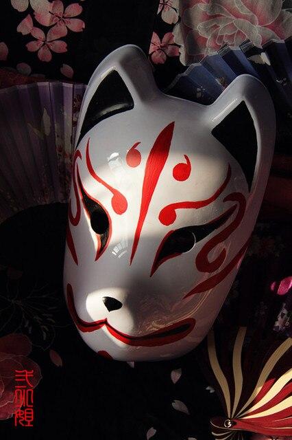 hand painted full face japanese fox mask demon kitsune. Black Bedroom Furniture Sets. Home Design Ideas