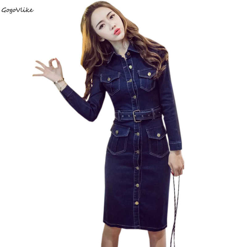 Vestido jean dress Dark Blue 2018 New Sexy Denim Casual Pencil Dress Women office cowboy dresses