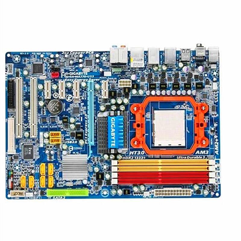 オリジナルギガバイト GA-MA770-US3 R2.0 デスクトップマザーボード MA770-US3 770 ソケット AM2 AM3 DDR2 SATA2 USB2.0 ATX 100% 完全にテスト