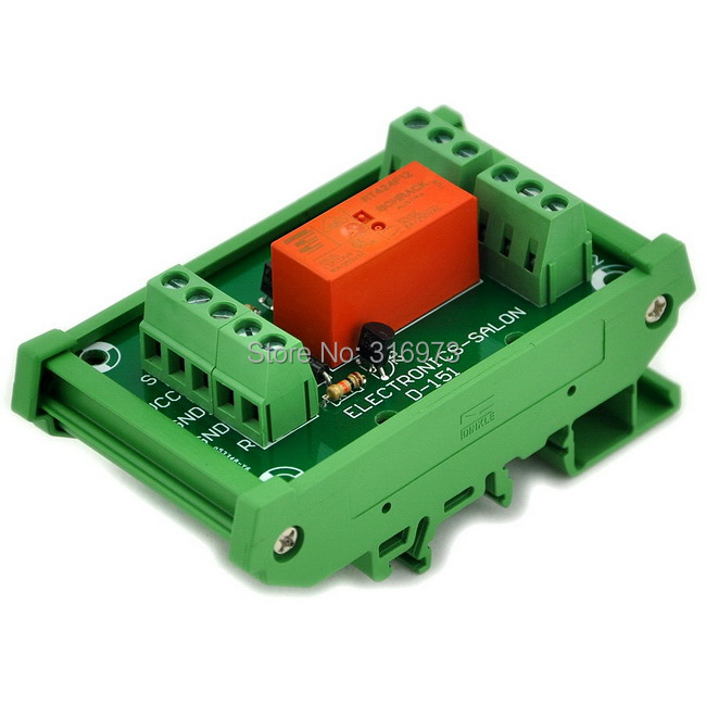 Bistable DPDT 8 Amp Relay Module, DC12V Coil, With DIN Rail Carrier Housing