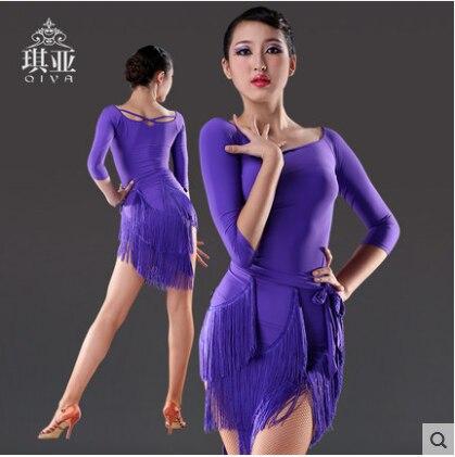 Sexy strapce latinské taneční šaty ženy fialové taneční sukně samba latinské taneční kostýmy pro ženy salsa roucho de danse latine femme
