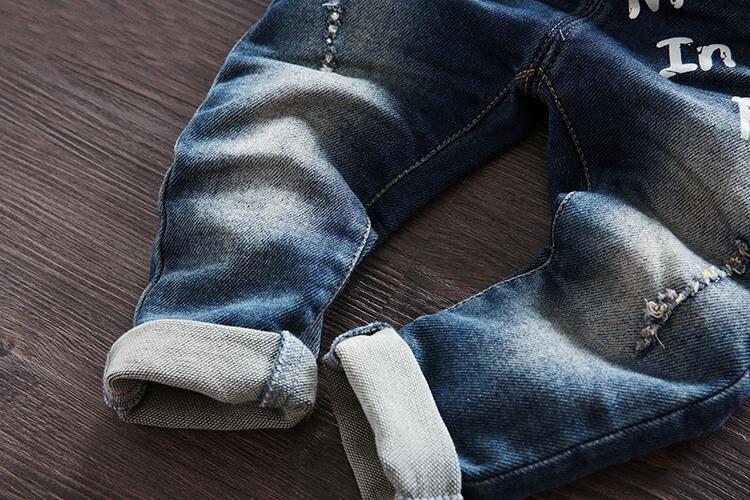 Gratis frakt 2018 vårhöst Baby pojke overaller bib barn denim byxor - Barnkläder - Foto 3