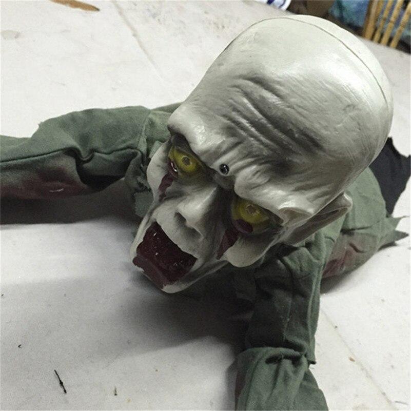 Halloween effrayant poupée ramper tête chauve fantôme accessoires horreur crâne squelette en plastique fantôme Figurine maison Bar Club fête décoration