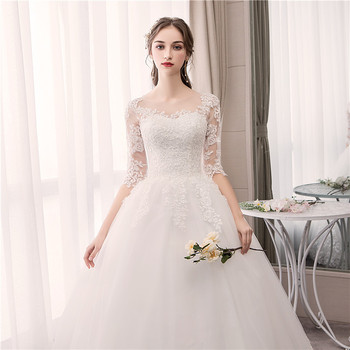 Do Dower O Neck Half Sleeve Wedding Dress Fashion Slim Lace Embroidery Lace Up Plus Size Custom Made Wedding Gown Robe De Mariee 2