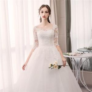 Image 2 - EZKUNTZA O Neck Half Sleeve Wedding Dress Fashion Slim Lace Embroidery Lace Up Plus Size Custom Made Wedding Gown Robe De Mariee