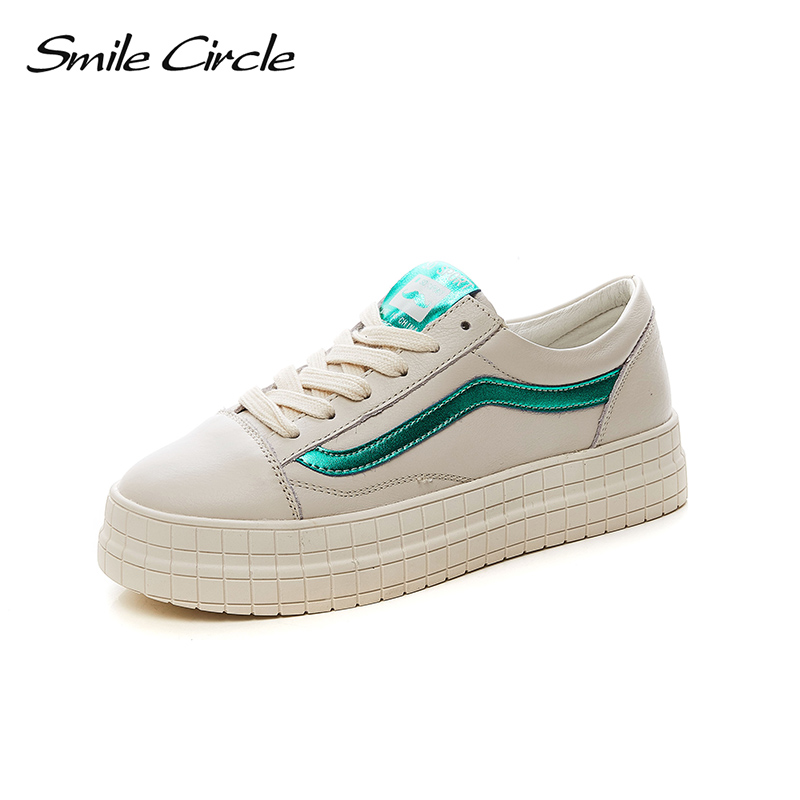 Smile Circle 2018 New Genuine Leather Sneakers Women Lace-up Flats Shoes Women Casual Shoes Round toe Flats platform Shoes C6005 asumer white spring autumn women shoes round toe ladies genuine leather flats shoes casual sneakers single shoes