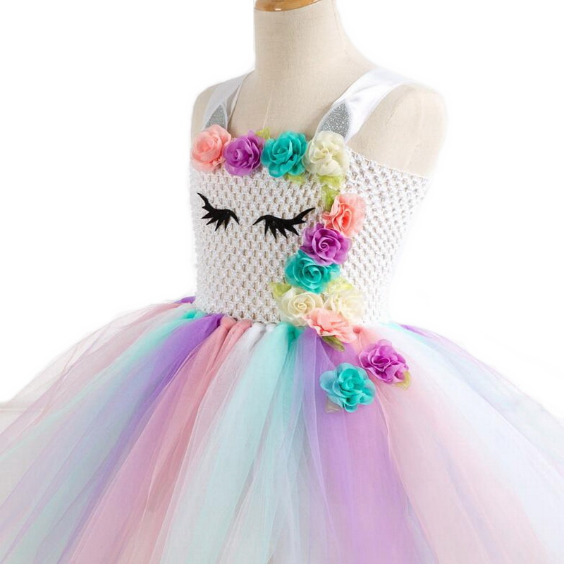 Image 4 - Rainbow Unicorn Costumes Pony Tutu Dress with Hair Band Princess Girls Party Dress Children Kids Halloween Unicorn Costume 2 10Y-in Girls Costumes from Novelty & Special Use